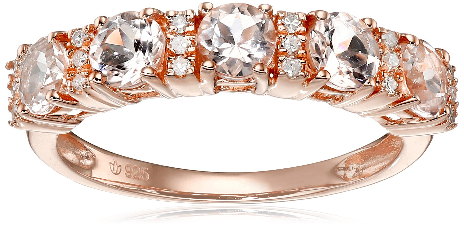 Rose Gold-Plated Silver Morganite and Diamond 5-Stone Band Stackable Ring(0.08 cttw, H-I Color, I1-I2 Clarity), Size 7