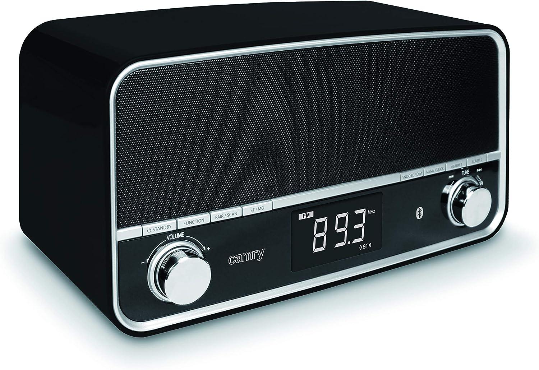 Bluetooth Radio Cocina Radio, Boom Box, Taller Radio, Am/FM Despertador AUX en Doble Alarma Pantalla LCD USB Negro y Blanco