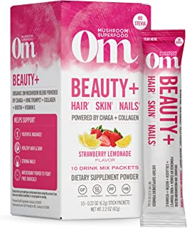product image for Om Mushroom Superfood Drink Mix Packets, Beauty Plus, Strawberry Lemonade, 2.1 Ounce, Chaga, King Trumpet, Maitake, Cordyceps & Shiitake, Collagen, Hair Skin Nails Supplement