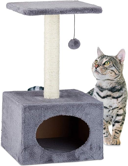 Relaxdays Árbol Rascador para Gatos con Cama Cueva, Sisal, Gris, 56 x 31 x 31 cm: Amazon.es: Productos para mascotas