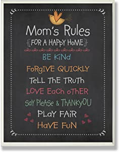 Stupell Home Décor Mom's Rules Chalkboard Typography Wall Plaque, 10 x 0.5 x 15, Proudly Made in USA