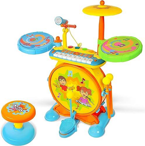 TOONIT Jamz Girls & Boys Keyboard & Drum Set with Children's Musical Instruments: Kids Piano, Electronic Drum Set, Kid Microphone, Sing-Along...