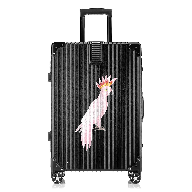 GSHCJ スーツケース カッコイイ動物 オウム キャリーケース 20インチ おしゃれ ブラック Tsaロック搭載 プリント ハード 超軽量 軽い 機内持込 ロックファスナー 旅行 ビジネス 出張 海外 修学旅行 丈夫 便利 レディース メンズ 学生 B07S19NJ3S