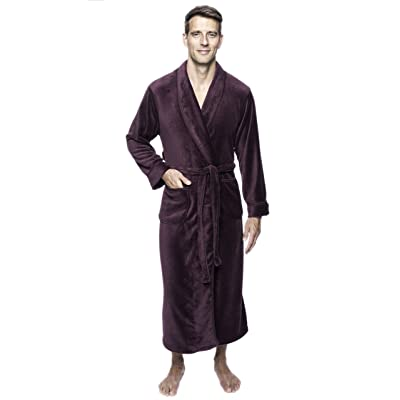 Twin Boat Men's Coral Fleece Plush Full Length Robe at Men's Clothing store - Click Image to Close