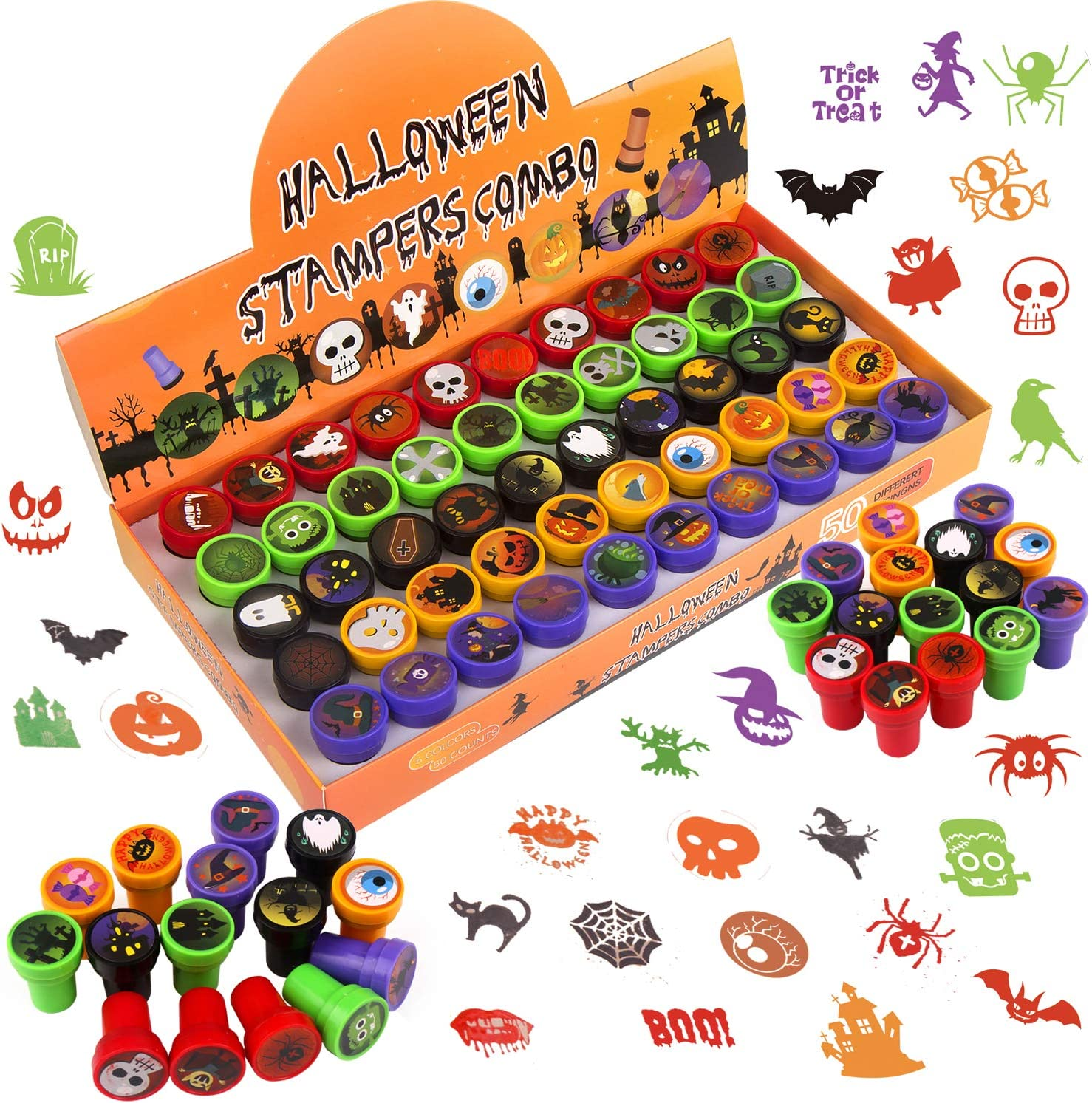 CCINEE 50pcs Halloween Assorted Stamps Cute Cartoon Stamps for Kids Halloween Party Favors Trick or Treat Goodies Bags Filler