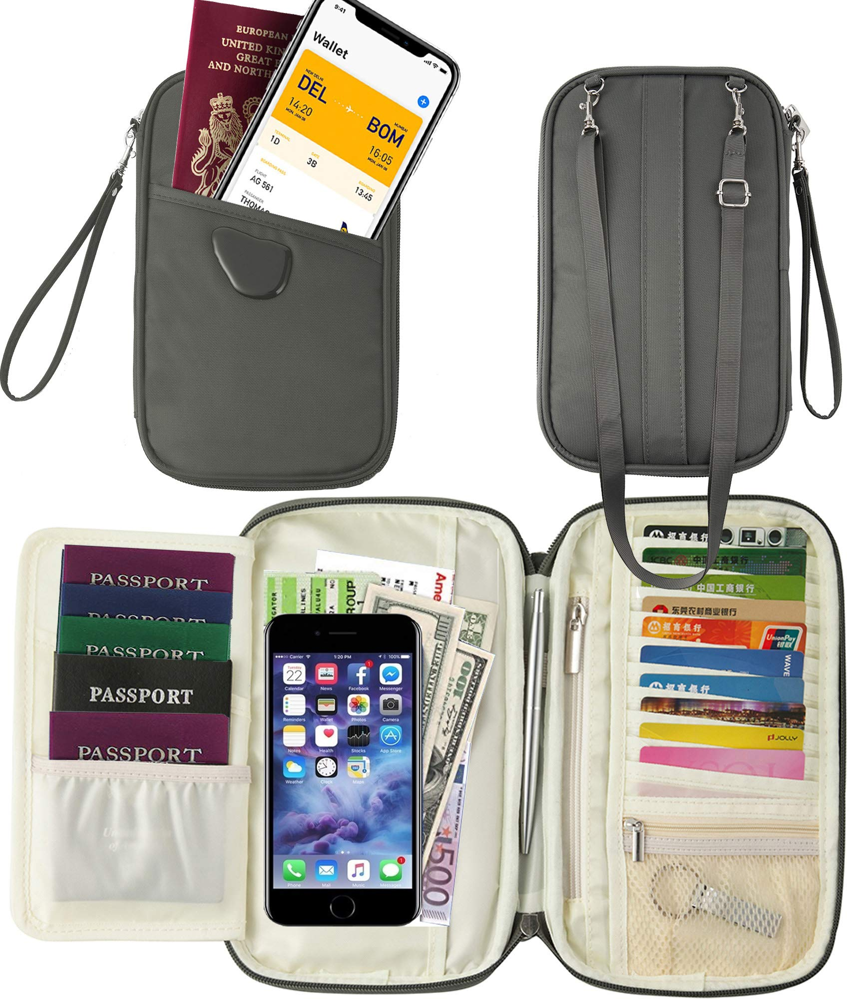 Travel Document Organizer &Passport Wallet & Passport Pouch &Passport Cover (RFID Gray)