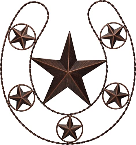 EBEI 20.5 Country Lucky Horseshoe Decor Rustic Metal Barn Star Western Home Wall Decor Dark Brown Retro Metal Wall Hanging Decoration