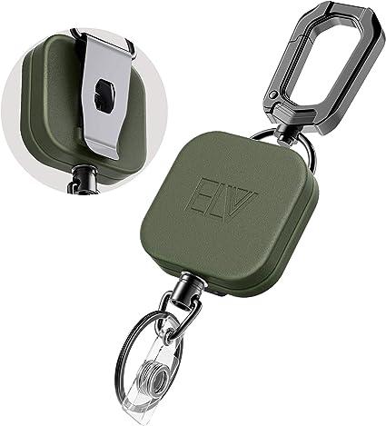 2pcs Retractable Key Tool Reel Holder Steel Clip Chain Belt Heavy Duty Split NEW