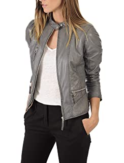 KYZER KRAFT Womens Leather Jacket Bomber Motorcycle Biker ...