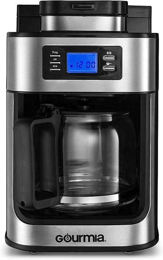 gourmia gcm4700 cafetera eléctrica con construido en molinillo programable, 10 tazas, jarra de agua, de goteo automático LED pantalla: Amazon.es: Hogar