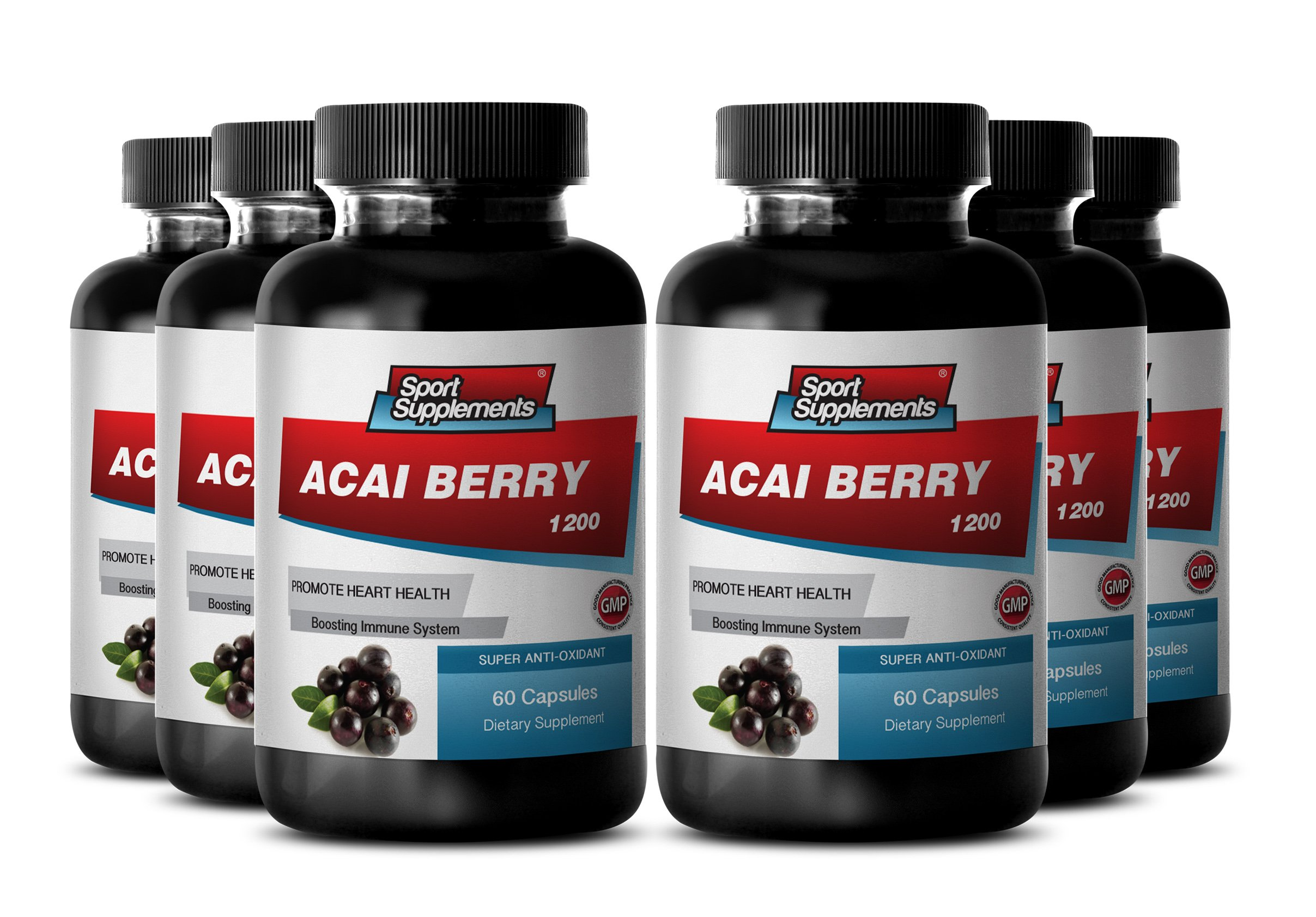 Natural Weight Loss with Acai Berry - Acai Fruit (4:1) Concentrate 1200mg - Boost Energy Levels, Improves Digestive Function, and Mental Focus - Strong Anti-aging Benefits (6 Bottles 360 Capsules)