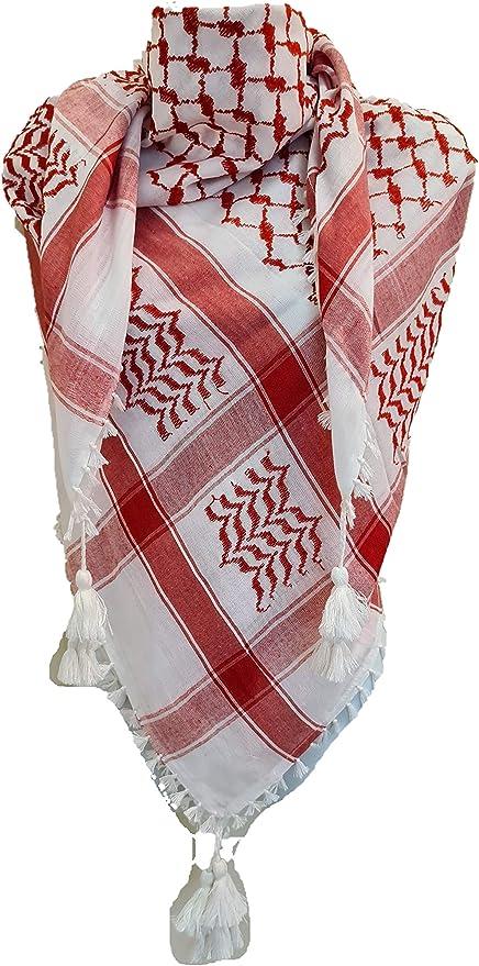 High Quality Royal Arabian Red Shemagh Yashmagh Keffiyeh Scarf Neck Wrap face ma