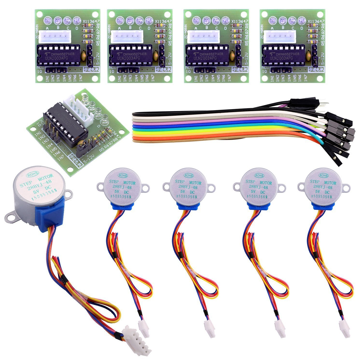 Elegoo 5 Sets 28byj 48 Uln2003 5v Stepper Motor Unipolar Control Circuit With Pic16f877 Driver Board For Arduino Camera Photo