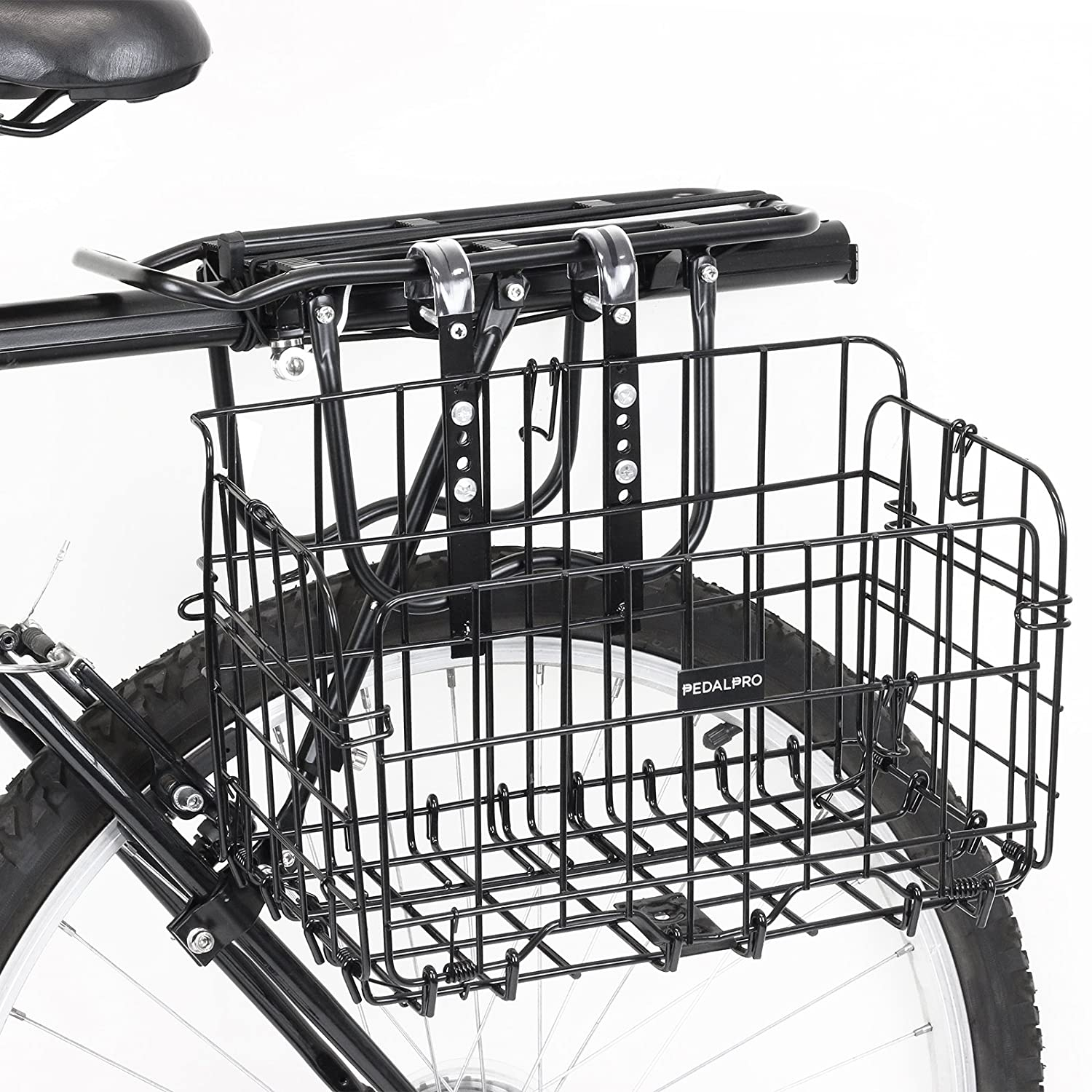 PedalPro Black Wire Fold Out Bicycle Basket