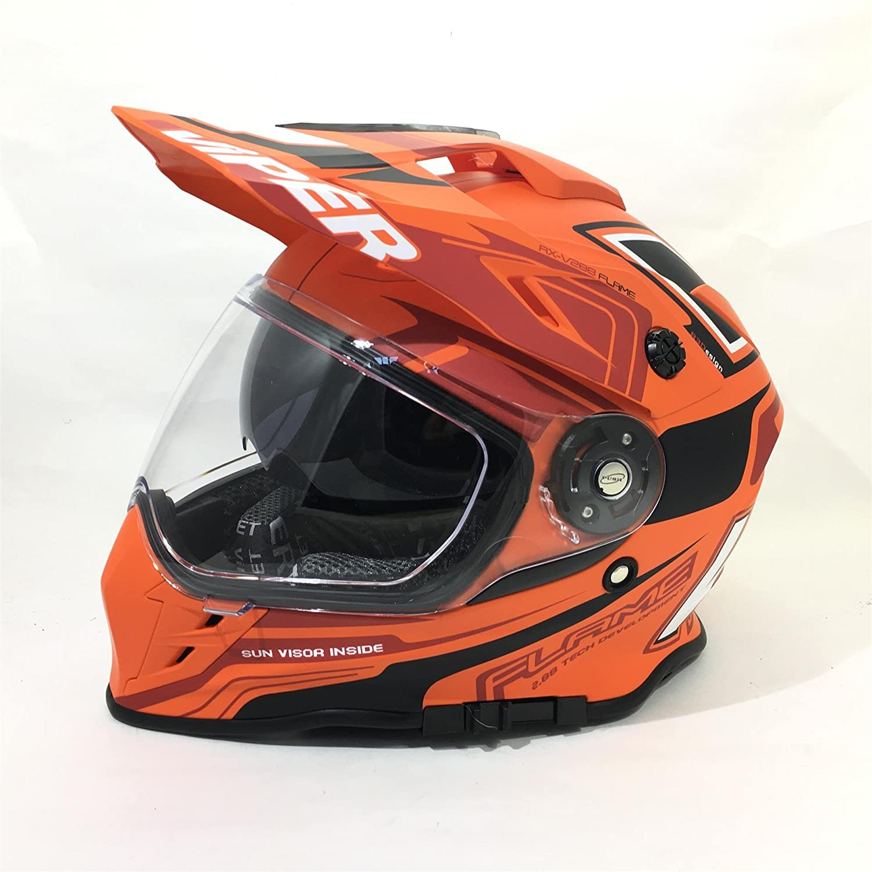 L VIPER RX-V288 DUAL SPORT BIKE DUAL VISIER ENDURO MOTORRAD HELM FLAME ORANGE