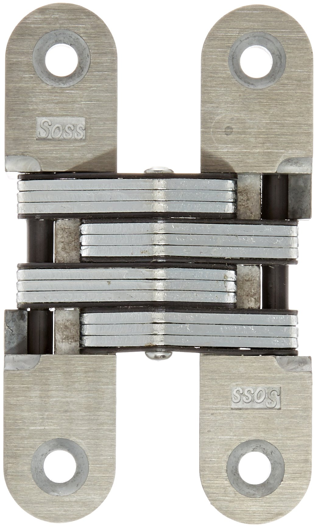 SOSS 216 Zinc Invisible Hinge with Holes for Wood or Metal Applications, Mortise Mounting, Unplated