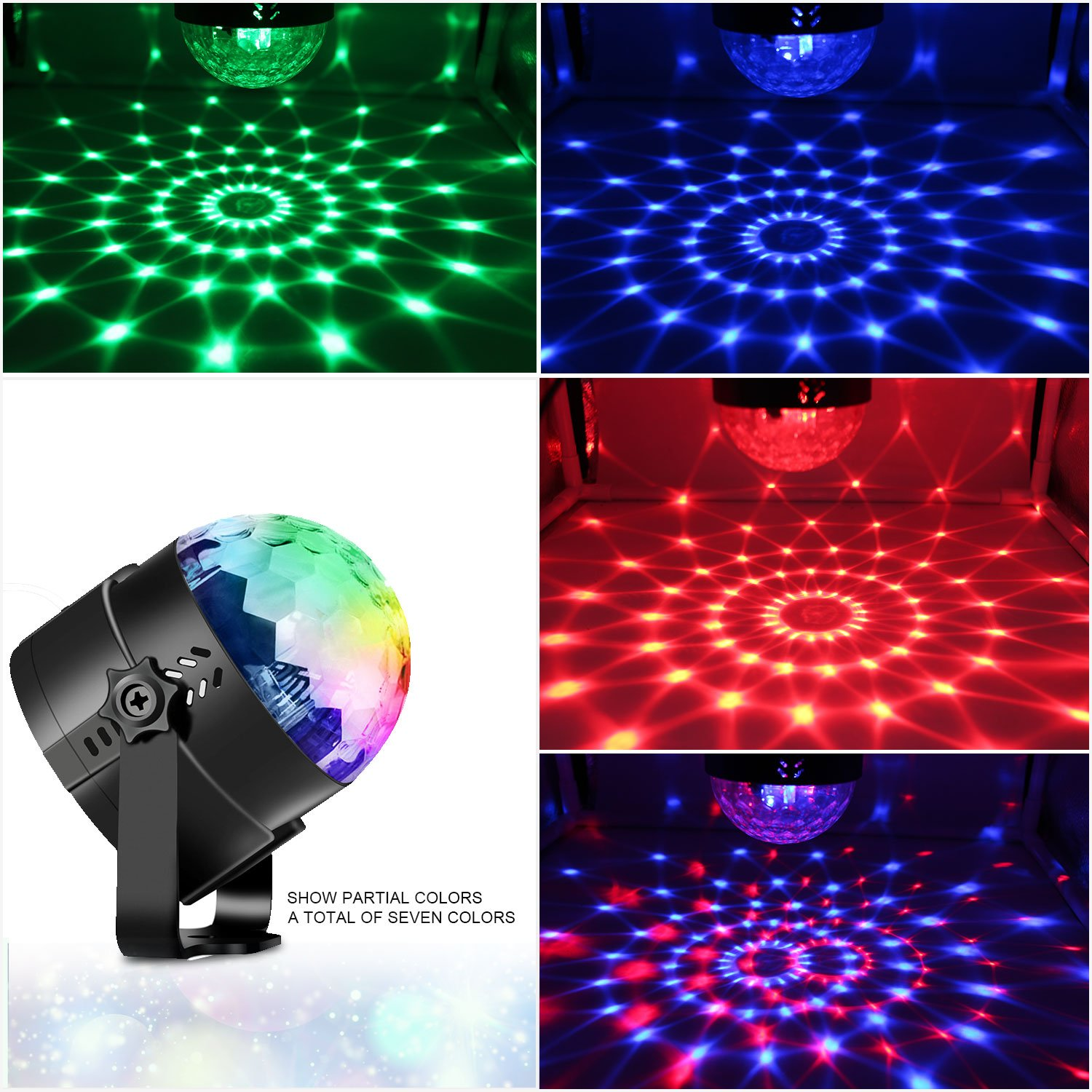 Spriak Disco Ball Party Lights 3rd Generation Strobe Light 3W DJ Dance Lights Sound Activated Portable Stage Light for Xmas Halloween Kids Birthday Party (with USB) by Spriak (Image #2)