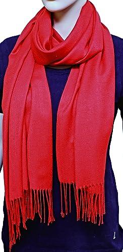 FIA MONETTI Bufanda de mujer Cashmere - Rojo - 170 x 66 cm - en un diseño atemporal - ¡un accesorio ...