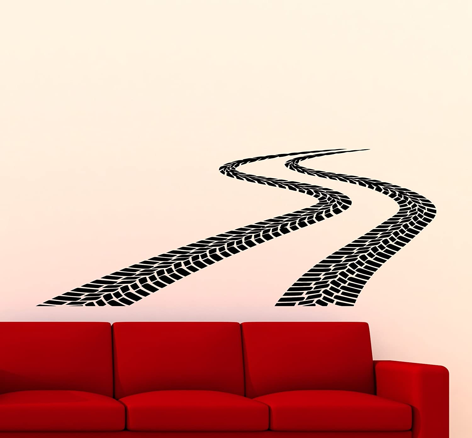 300xx Tire Tracks Wall Decal Car Road With Traces Of Tire Garage Vinyl Sticker Home Nursery Kids Boy Girl Room Interior Art Decoration Any Room Mural Waterproof High Quality Vinyl Sticker by Awesome Decals
