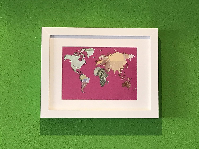 Geldgeschenk Weltkarte im Bilderrahmen, Hochzeitsgeschenk ...