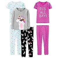 Girls' Little Kid 6-Piece Snug Fit Cotton Pajama Set, Unicorn/Dots/Turtle, 6