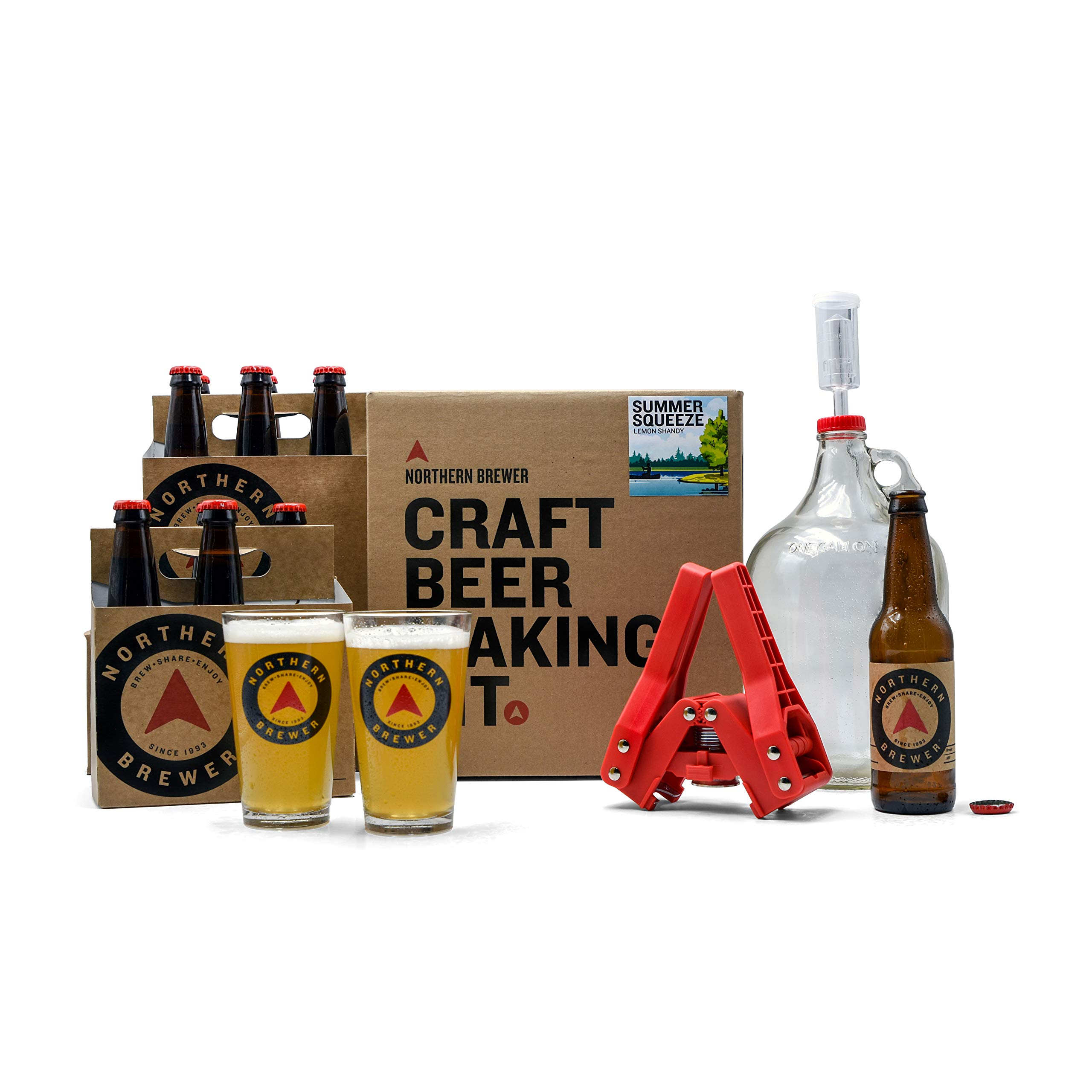 Northern Brewer - All Inclusive Gift Set 1 Gallon Small Batch HomeBrewing Starter Kit Equipment and Recipe For Making Homemade Beer Para Hacer Cerveza Artesanal (Limited Edition Summer Squeeze Shandy)