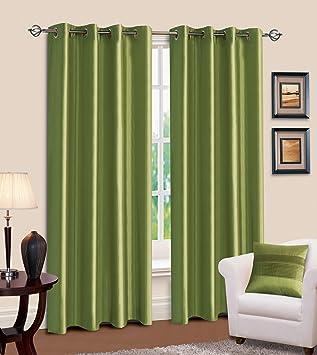 Green Curtains amazon green curtains : Faux Silk 66