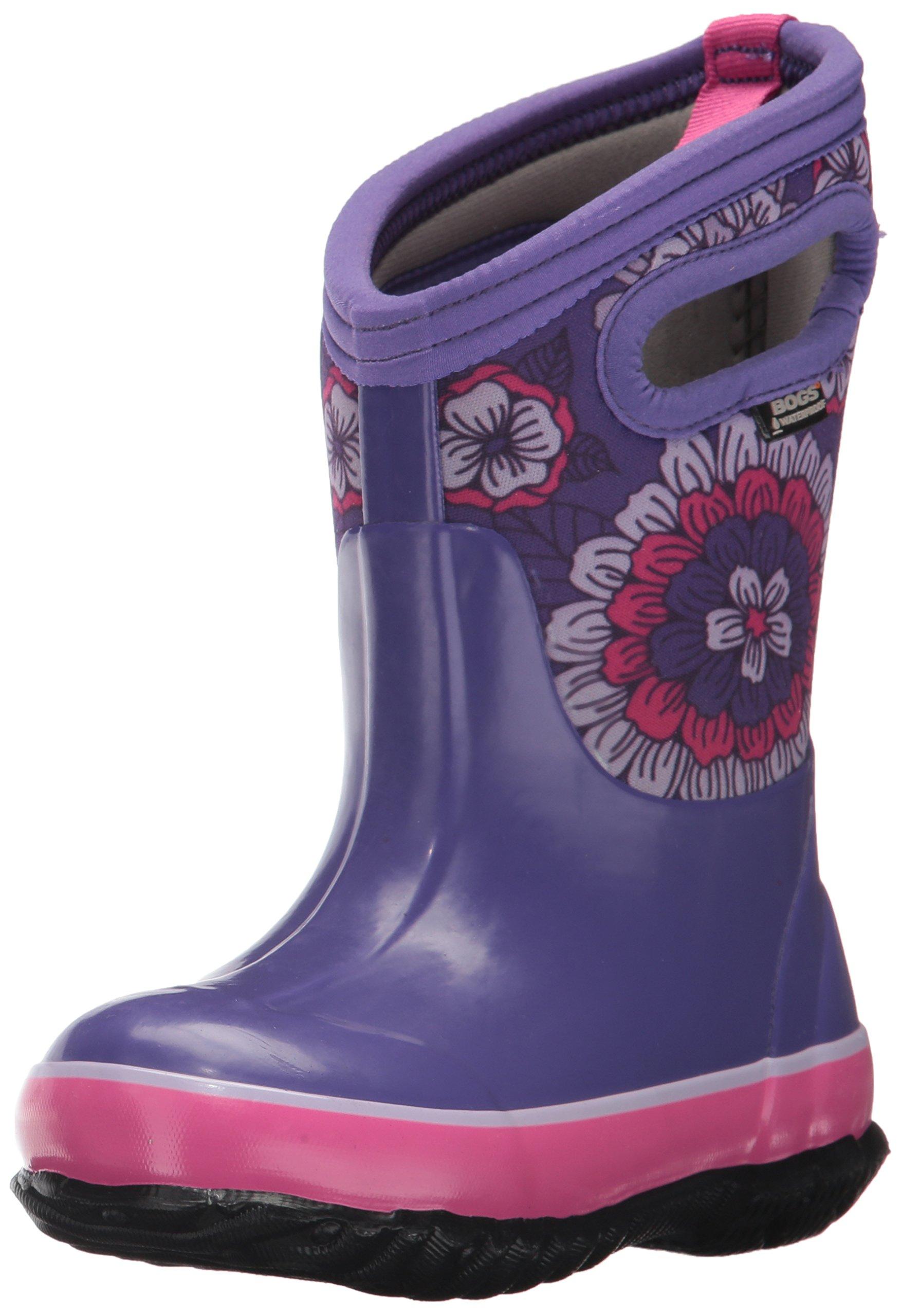 Bogs Classic High Waterproof Insulated Rubber Neoprene Rain Boot Snow, Pansies Print/Purple/Multi, 4 M US Big Kid