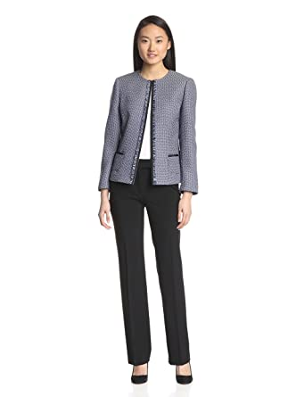 many choices of convenience goods arrives Tahari Women's Frayed Trim Scoop Neck Tweed Pant Suit - Blue ...