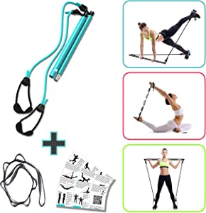 FLEXIES Portable Pilates Bar kit with Resistance Band Bar | Adjustable Resistance & Length Pilates Stick Bar, Toning bar + FREE 8-loop Stretch band| Resistance bands bar |At home fitness workout stick