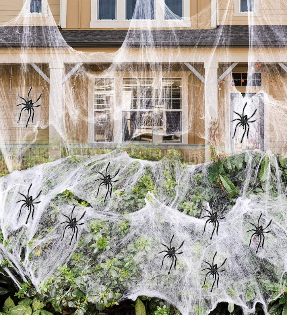 Fake Spider Web Halloween Party Decorations Outdoor Supplies 1000 sqft by AtRenty