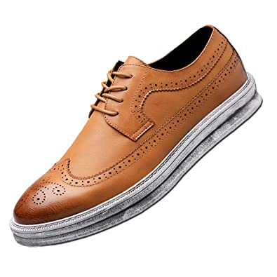 c13d242279f YANXU Mens Casual Fashion Leather Sneaker Wingtip Lace Oxford Dress Shoes