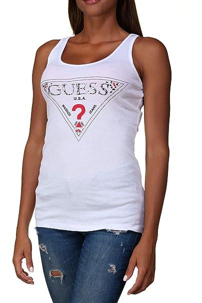 GUESS Triangle, Camiseta Sin Mangas para Mujer. M Blanco: Amazon.es: Ropa y accesorios