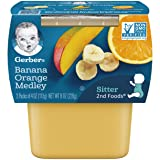 Gerber 2nd Foods Fruits Banana & Orange Medley Pureed Baby Food, 4 Ounce Tubs, 2 Count (Pack of 8)