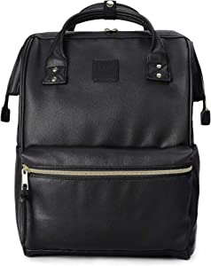 Kah&Kee Leather Backpack Diaper Bag with Laptop Compartment Travel School for Women Man (Black, Large)