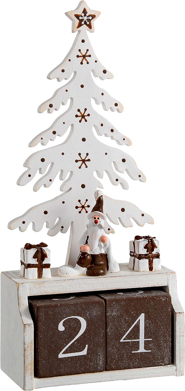 WeRChristmas – Calendario de Adviento de árbol de Color Blanco Caja de Navidad, Madera, Multicolor, 19 cm: Amazon.es: Hogar