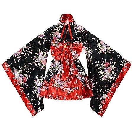 tzm2016 giapponese fiori di ciliegio modello kimono anime Cosplay Lolita costume Halloween, Red, x large