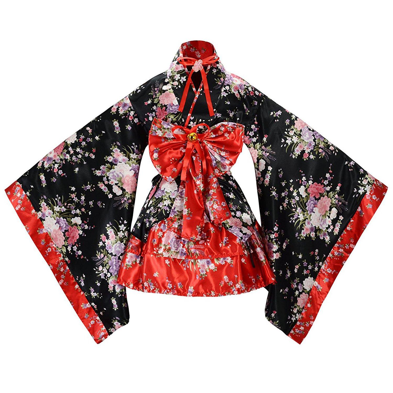 tzm2016 - Disfraz de Cerezo japonés, diseño de Flores, Kimono, Anime Cosplay, Lolita, Halloween, Rojo, Small product image