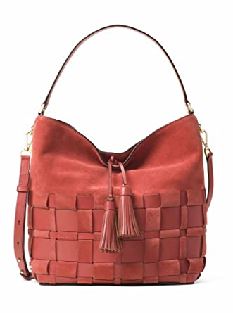 Amazon.com  MICHAEL MICHAEL KORS Vivian Large Woven Suede And Leather Hobo  (Cinnamon)  Clothing e66658b98296d