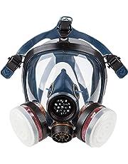 Induschoice Organic Vapors Full Face Respirator Mask Gas Mask Respiratory Protection(Respirator +1 Pair Cartridges)