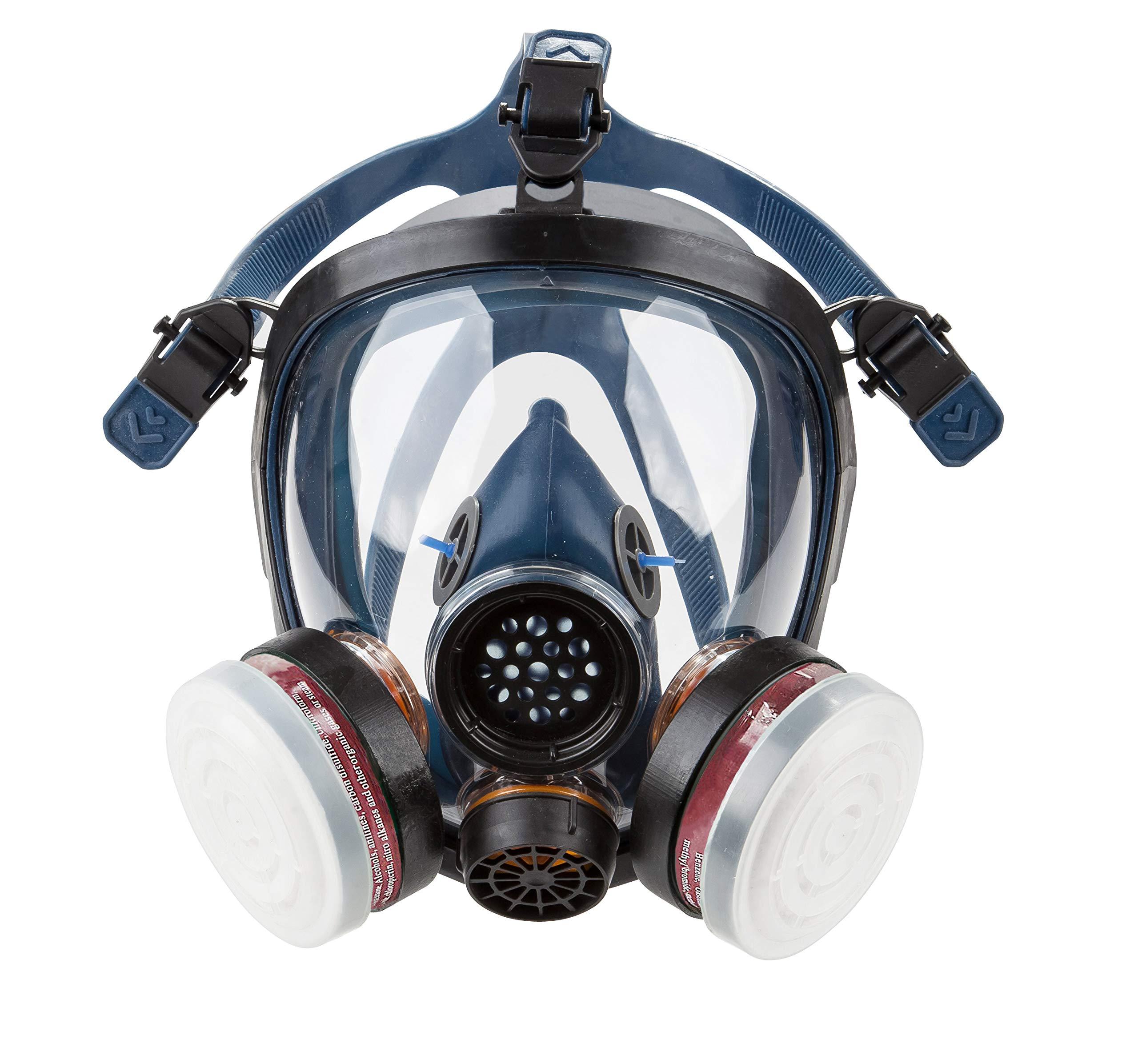 Induschoice Organic Vapor Full Face Respirator Mask Gas Mask Paint Pesticide Chemical Formaldehyde Anti Virus Respiratory Protection(Respirator +1 Pair LDY3 Cartridges) by Induschoice