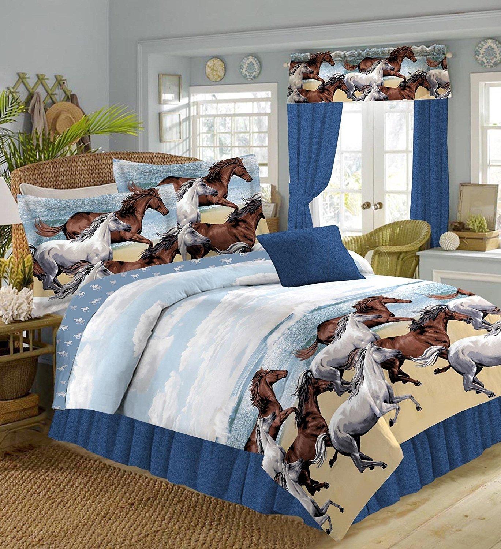 9pc Full Size Western Horses Comforter, Pillow Shams, Sheet Set, Bedskirt & WINDOW VALANCE (Bed in a Bag)