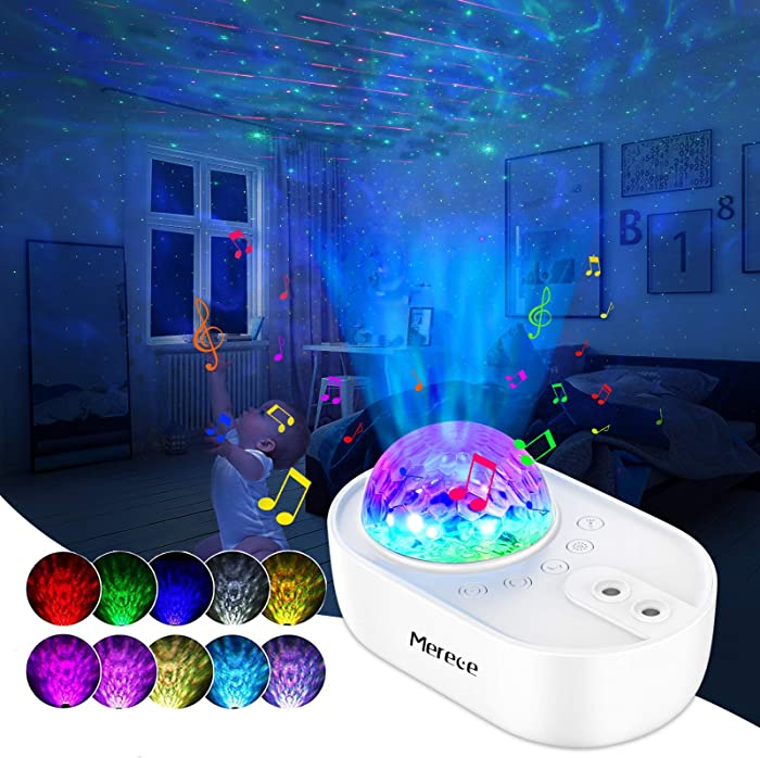 Night Light Projector 3 in 1 Galaxy Projector, Merece Star Lights Space Projector with 5 White Noises, Bluetooth Music Speaker, Remote Control, Ocean Wave Projector for Bedroom/Home Theater/Decor