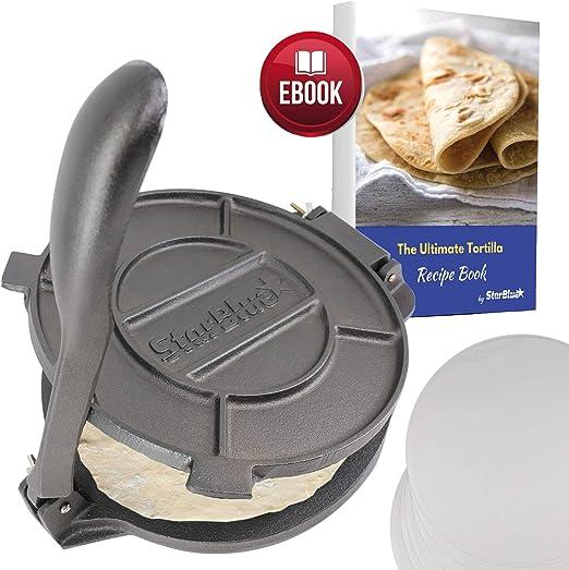 """Big Tortilla Press Burrito Maker 100/% Cast Aluminum Tortilla 9/"""" Heavy Duty"""
