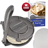 10 Inch Cast Iron Tortilla Press by StarBlue with FREE 100 Pieces Oil Paper and Recipes e-book - Tool to make Indian style Chapati, Tortilla, Roti