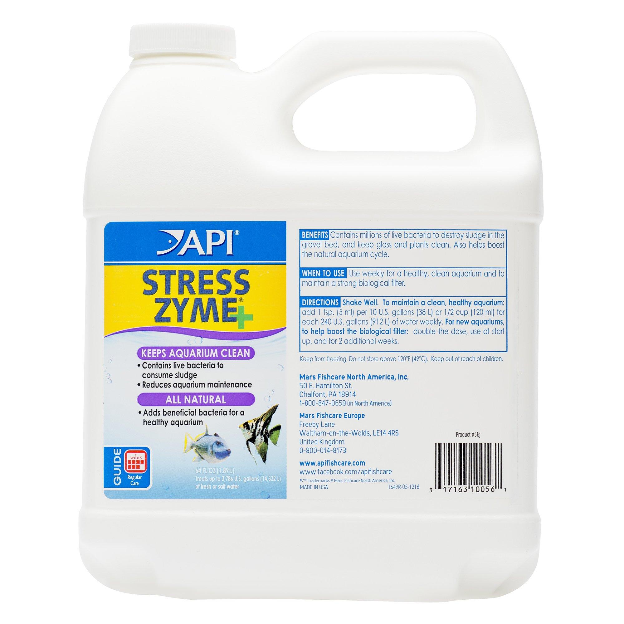 API Stress Zyme Freshwater & Saltwater Aquarium Cleaning Solution 64 oz Bottle by API