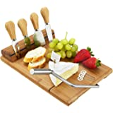 Picnic at Ascot Bamboo Board with Wire Cheese Slicer & 4 Stainless Steel Tools - A Great Holiday Gift for all Cheese Lovers