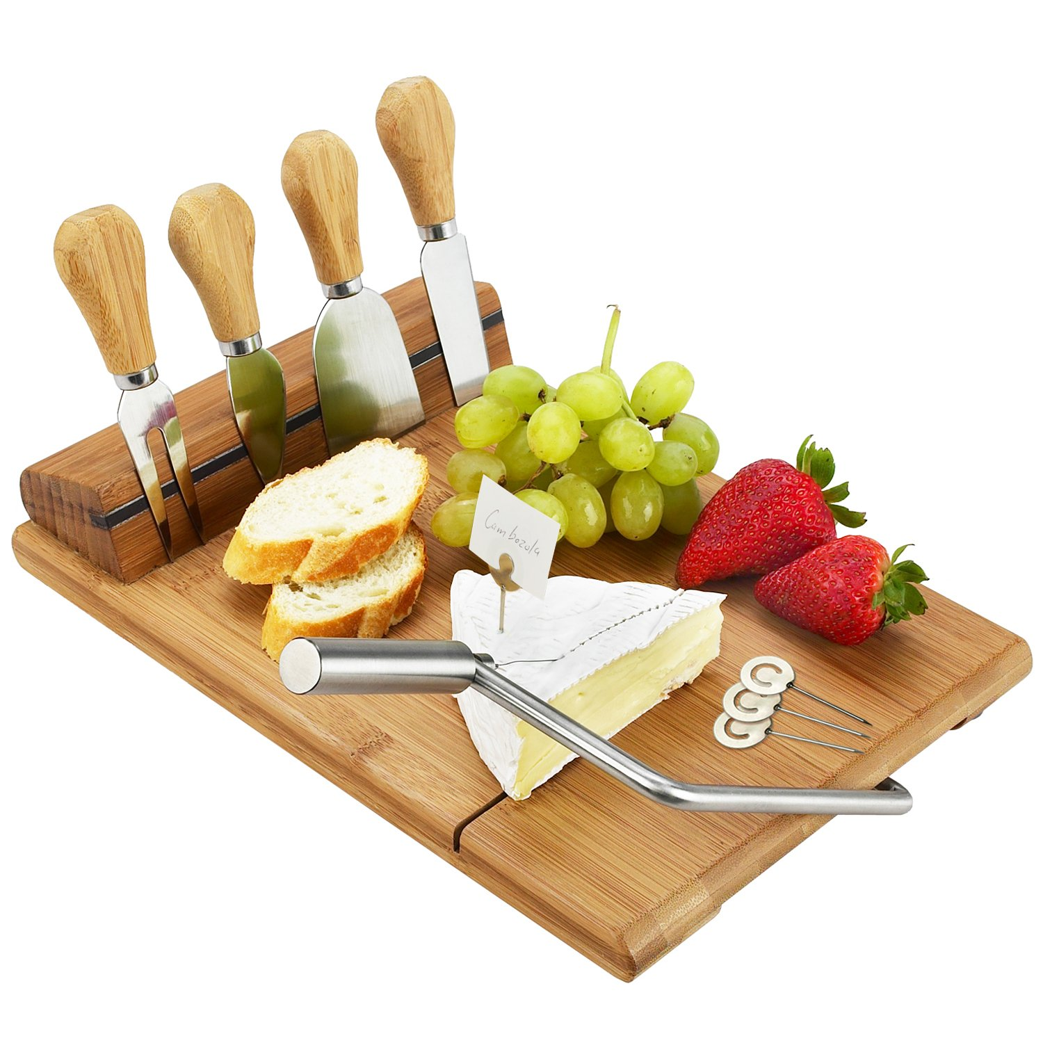 Picnic at Ascot Bamboo Board with Wire Cheese Slicer & 4 Stainless Steel Tools & Cheese Markers - 12'' x 8''- Designed & Quality checked in the USA