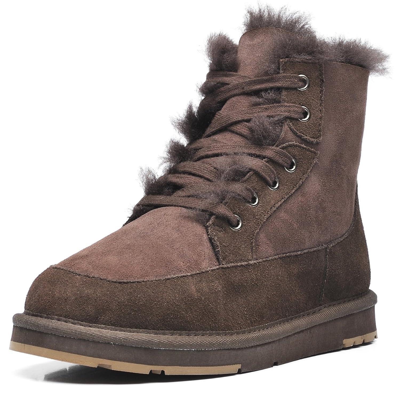 AU&MU Women's Full Fur Sheepskin Suede Winter Snow Boots B073CZTS94 7|Chocolate 1