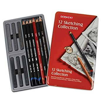 Derwent Sketching Collection - Set de 12 lápices para bocetos, en estuche metálico